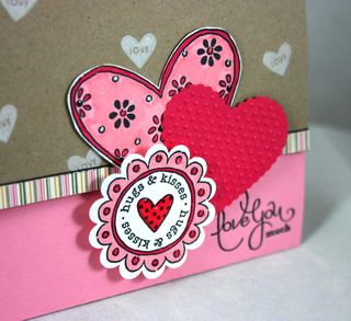Hugs and kisses card detail - Dana Newsom