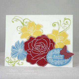 Outline flower birthday card- dana newsom