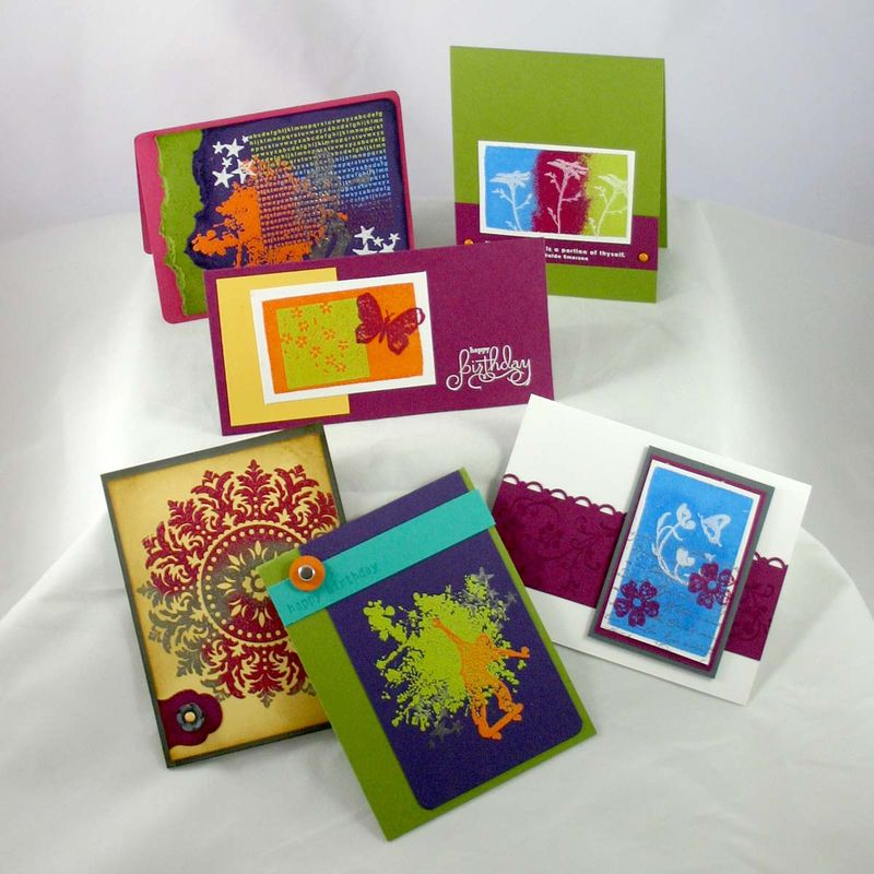Painting with embossing powder  class samples- dana newsom