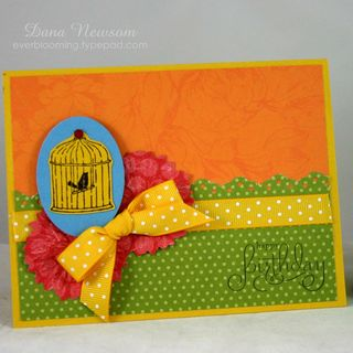 Bird cage birthday card- dana newsom