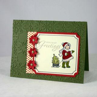 Season greetings girl with wagon card - dana newsom