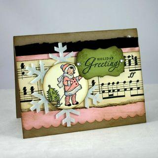 Pink coat greetings card- dana newsom