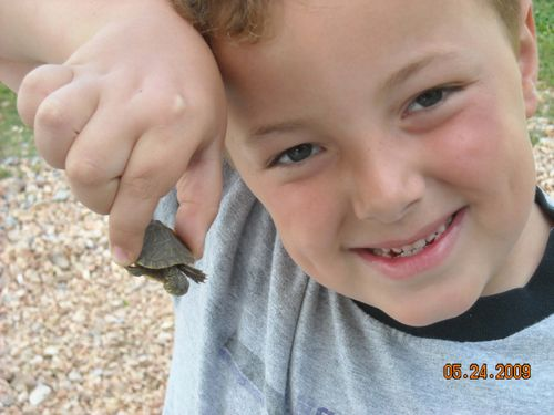 Logan with turtle