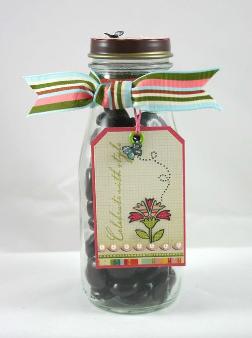 Flower and butterfly jar and tag- by dana newsom