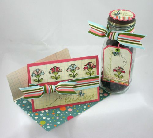 Flower and butterfly jar, card and tag- by dana newsom