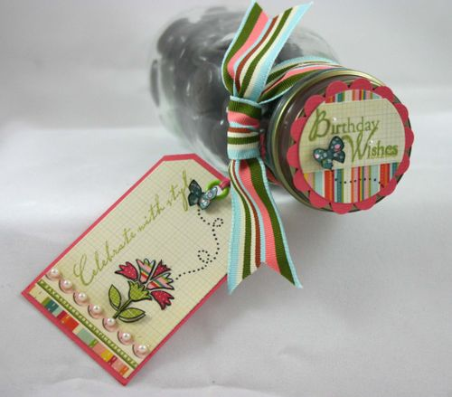 Flower and butterfly jar lid and tag- by dana newsom