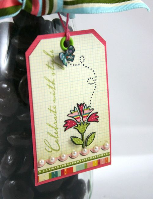 Flower and butterfly tag- by dana newsom