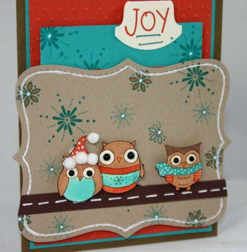 Owl joy card 1 detail by dana newsom