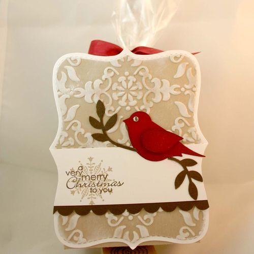 Merry christmas cardinal bag - dana newsom
